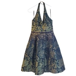 Kay Unger Green and Gold Paisley Halter Dress